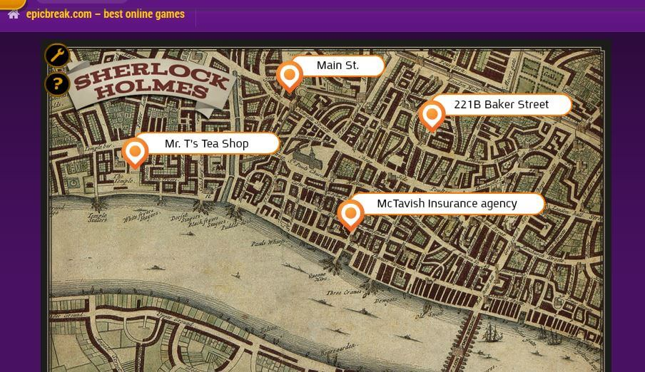 Sherlock Holmes and the Tea Shop Murder Mystery Game - Map